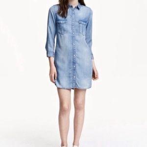 H&M &denim light blue tunic blouse
